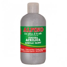 Tempera acrilica 250 ml, ALPINO - argintiu metalizat