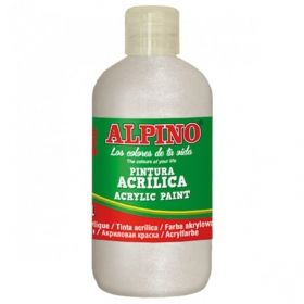 Tempera acrilica 250 ml, ALPINO - alb metalizat